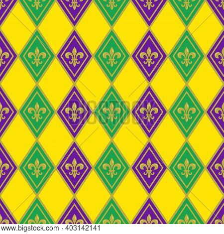 Mardi Gras Seamless Pattern With Fleur De Lis; Holiday Background For Greeting Cards, Invitations, P