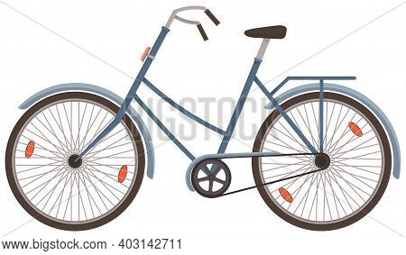 Classic Man Bicycle Vector Illustration Isolated On White Background. Women S Bike Eco-friendly Tran