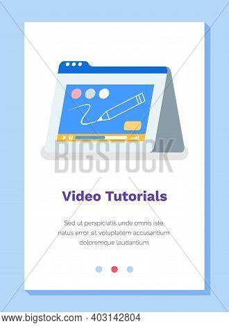 Online Video Tutorials, Webinar, Distance Education, E-learning, Business Training Vector Illutratio