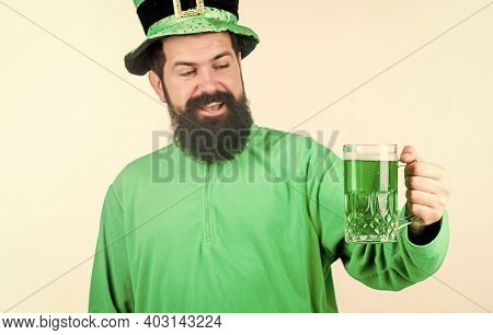 Everyones Irish On St Patricks Day. Irish Man With Beard Drinking Green Beer. Bearded Man Toasting T
