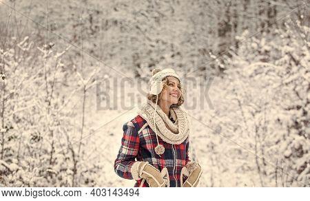 Winter Fashion. Woman Enjoy Winter Landscape Of Snowy Forest. Female Winter Fashion. My Favorite Sea