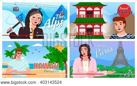 Set Of Traveling Pictures To Different Countries. Travel To Japan, The Alps, Hawaii, Paris. Differen
