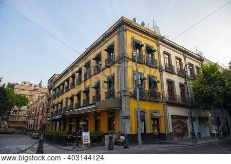 Mexico City - Jan. 14, 2020: Historic Buildings On Calle De Tacuba Street And Calle De Filomeno Mata