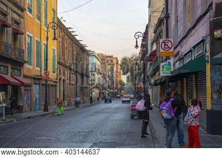 Mexico City - Jan. 15, 2020: Historic Buildings On Republica De Chile Street And Calle De Tacuba Str