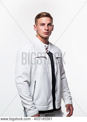 Fashion Male Model Wear Modern Streetwear In Casual Style Isolated On White, Fashionable
