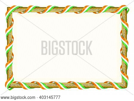 Horizontal  Frame And Border With Ivory Coast Flag, Template Elements For Your Certificate And Diplo