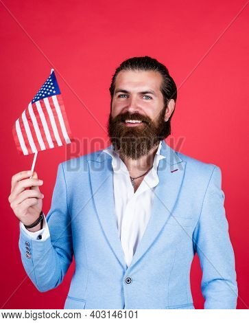 Patriotism Concept. Brutal Handsome Man With Moustache. Work And Travel To Usa. Independence Day. Ma