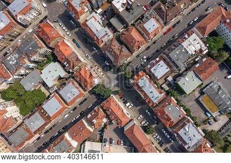 Overhead Aerial Photo Of Stuttgart Suburb Street In Germany At Summer Noon