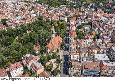 Aerial Drone Shot Of Stuttgart Suburb At Summer Noon