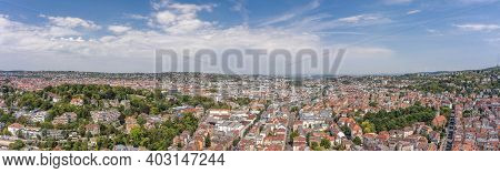 Panoramic View Of Stuttgart Suburb Near Hills In Germany At Summer Noon