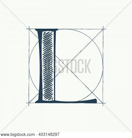 L Letter Logo With Construction Grid Lines. Vector Vintage Serif Character Perfect To Use In Any Arc