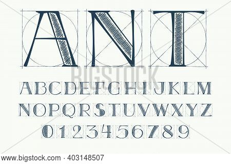 Alphabet And Numbers Set With Construction Grid Lines. Vector Vintage Serif Character Perfect To Use