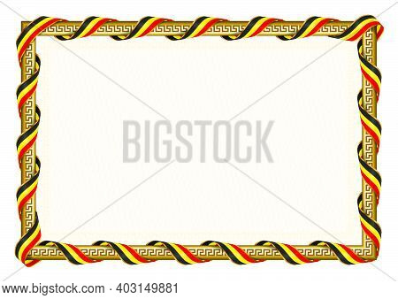 Horizontal  Frame And Border With Uganda Flag, Template Elements For Your Certificate And Diploma. V