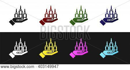 Set Skyscraper Icon Isolated On Black And White Background. Metropolis Architecture Panoramic Landsc