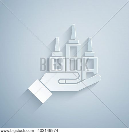 Paper Cut Skyscraper Icon Isolated On Grey Background. Metropolis Architecture Panoramic Landscape.