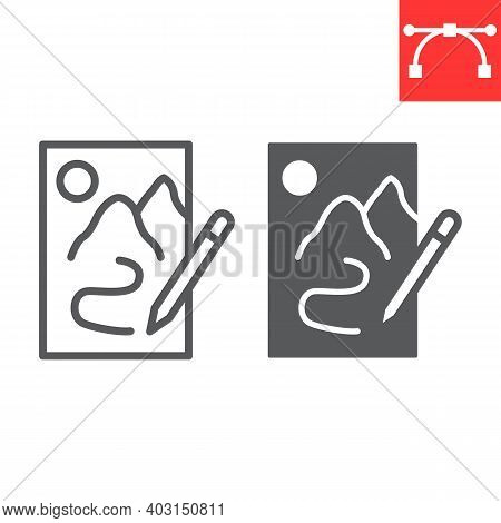 Sketching Line And Glyph Icon, Sketch And Designer, Paper And Pencil Sign Vector Graphics, Editable