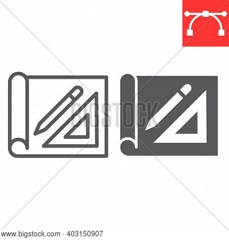 Design Project Line And Glyph Icon, House Plan And Blueprint, Architecture Sign Vector Graphics, Edi