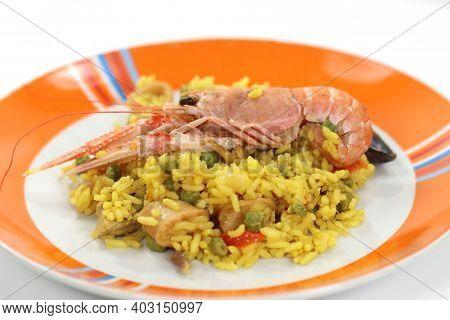 Rotisserie Prepared Valencian Paella Risotto With Sea Fish Rotisserie Prepared Valencian Paella Riso