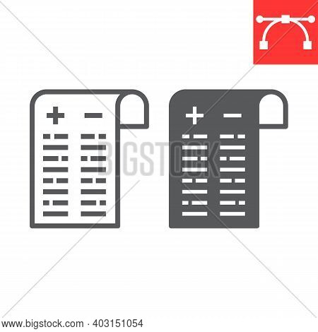 Pros And Cons Line And Glyph Icon, Test And Choose, Pros And Cons Sign Vector Graphics, Editable Str