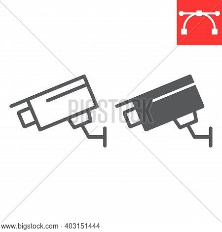 Security Camera Line And Glyph Icon, Security And Cctv, Surveillance Camera Sign Vector Graphics, Ed