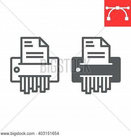 Paper Shredder Line And Glyph Icon, Security And Paperwork, Document Shredder Sign Vector Graphics,