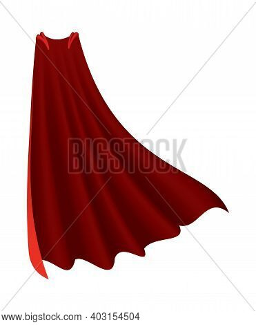 Superhero Red Cape. Scarlet Fabric Silk Cloak In Front View. Carnival Or Masquerade Dress. Realistic