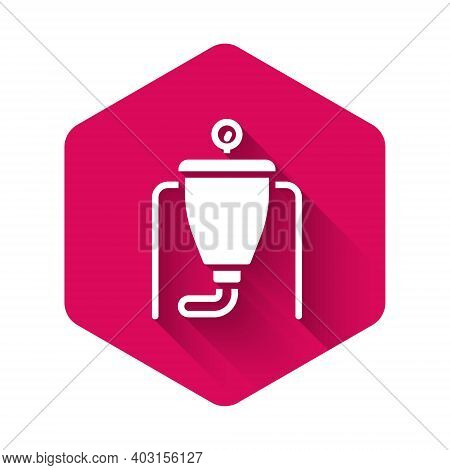 White Beer Brewing Process Icon Isolated With Long Shadow Background. Pink Hexagon Button. Vector