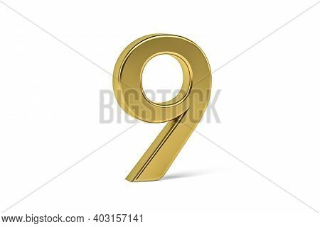 Gold Digit 9 - Three Dimensional Digit 9 On White Background - 3d Render