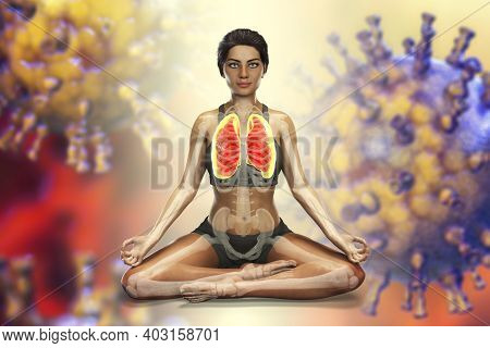 Female In Lotus Yoga Position With Highlighted Lungs, Surrounded By Viruses That Cannot Harm Her, 3d
