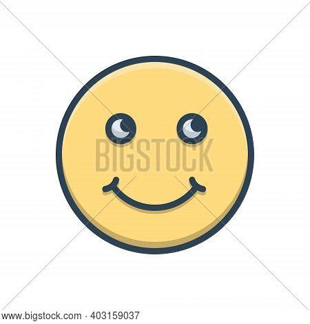 Color Illustration Icon For Smile Grin Deride Jest