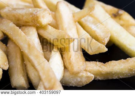 Fast Food French Fries, Inexpensive Convenient Fast Food From Natural Deep-fried Potatoes, Crispy Fr
