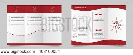 Trifold Mockup In Red. Magazine Mockup Brochure. Promotion Booklet Template. Trifold Brochure For Bu