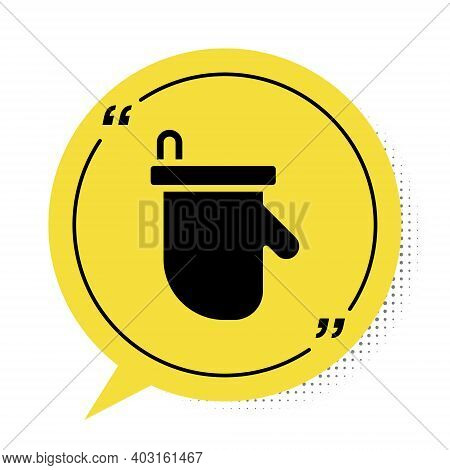 Black Sauna Mittens Icon Isolated On White Background. Mitten For Spa. Yellow Speech Bubble Symbol.
