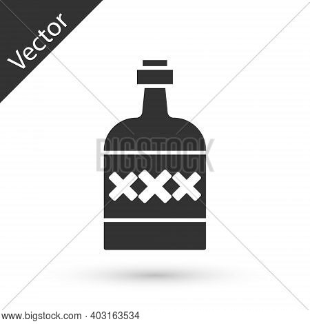 Grey Tequila Bottle Icon Isolated On White Background. Mexican Alcohol Drink. Vector