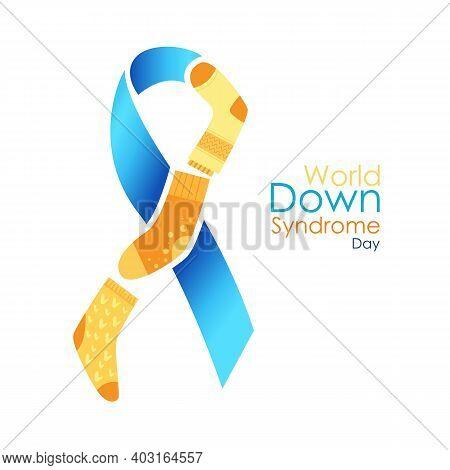World Down Syndrome Day Logo. Blue Ribbon With Yellow Lots Of Socks. International Symbol Of Illness