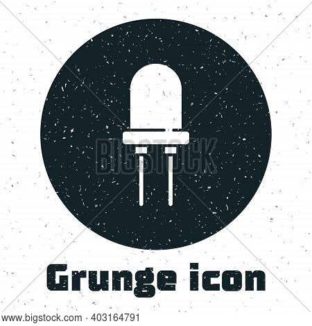 Grunge Light Emitting Diode Icon Isolated On White Background. Semiconductor Diode Electrical Compon