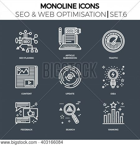 Line Icons Set With Flat Design Of Search Engine Optimization. Seo Planing, Article Submission, Traf