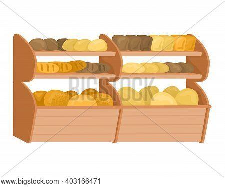 Market Bread Shop Shelf, Fresh Homemade Loaf, Bakery Food Shop Flat Vector Illustration, Isolated On