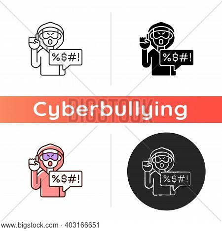 Hate Speech Icon. Offensive Comment. Rude Talk. Shaming And Spreading Negativity. Cyberbullying. Ano