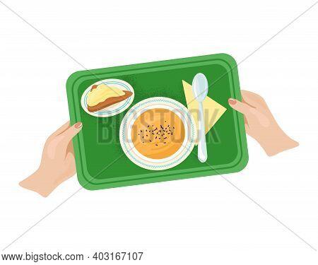Woman Hand Hold Tray With Foodstuff Plate Kitchen Utensils, Light Breakfast Foodstuff Flat Vector Il
