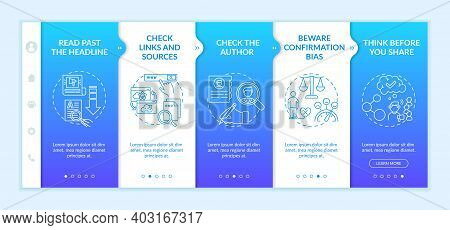 Misleading Information Checking Tips Onboarding Vector Template. Reading Past Headline. Checking Aut