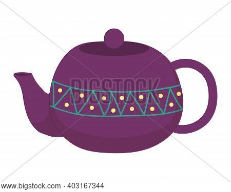 Cup Tea Purple Teapot Service Icon, Concept Chinese Porcelain Green Leafy Teakettle, Flat Vector Ill