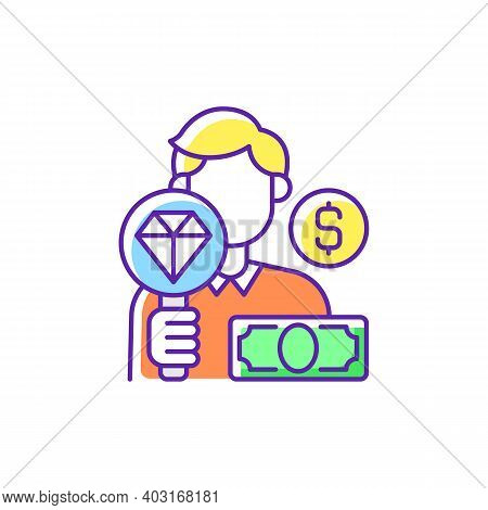 Pawnbroker Rgb Color Icon. Lending Money In Exchange For Personal Property. Pledge And Pawn. Offerin