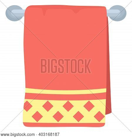 Bathroom Thing Towel Hanging On Metal Heated Towel Rail, Red Yellow Color Cloth Flat Vector Illustra