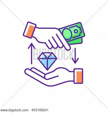 Money Loan Rgb Color Icon. Borrowing Cash. Financial Aid. Lending Money At Interest. Receiving Funds