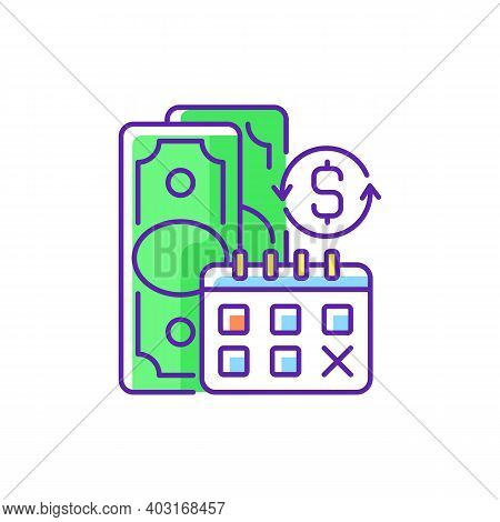 Regular Payments Rgb Color Icon. Coverage Term. Determined Interval. Recurring Payment. Credit Contr