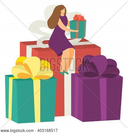 Tiny Female Character Sitting Christmas Present Box, Nativity Mood Concept, Woman Hold Xmax Gift Fla