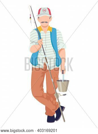 Male Fishing Hobby, Character Hold Rod, Man Wear Special Fisherman Costume Cartoon Vector Illustrati