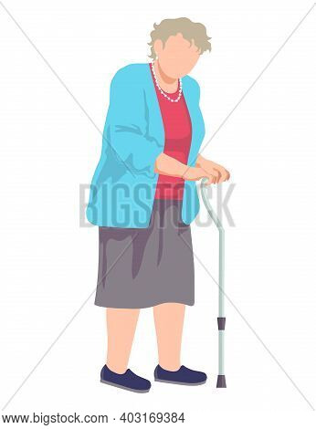 Disease Old Aged Female Character With Medical Walking Stick, Pension Woman Outdoor Stroll Cartoon V