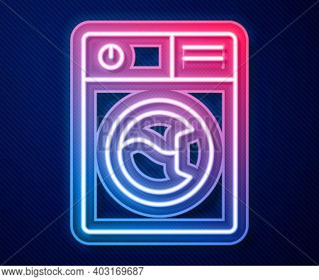 Glowing Neon Line Washer Icon Isolated On Blue Background. Washing Machine Icon. Clothes Washer - La